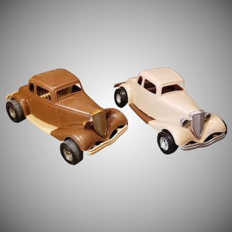 Two 1970's Durant Plastics Tootsie Toy 1934 Ford Victoria Cars