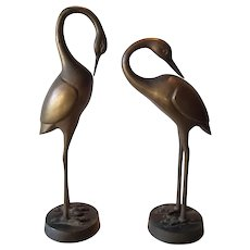 A Pair of Brass or Bronze Crane Wading Bird Figurines