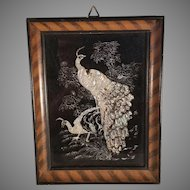 Framed Peacock and Hen Faux Mother of Pearl Inlay