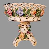 KPM Porcelain Centerpiece Pedestal Floral Basket Free Shipping.