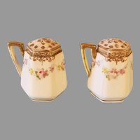 NIPPON Hand Painted Floral and Gold Trim Salt & Pepper Shakers