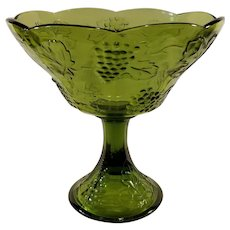 Indiana Glass Avocado Green Harvest Grape Compote