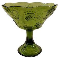 Indiana Glass Avocado Green Harvest Grape Compote