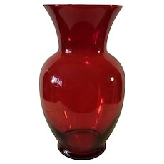 "Ruby Red Indiana Glass 11"" Vase"