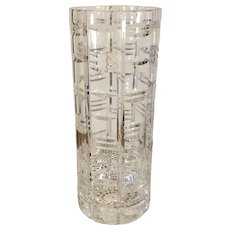 Heavy Clear Cross Cut Glass Octagonal Panel Vase