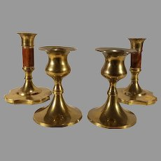 Sale Brass and Wood Candleholders 2 Matching Pairs