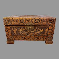 Sale Vintage Small Chinese Carved Camphor Wood Chest / Box