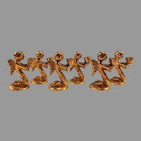 Sale Set of 6 Miniature Brass Kneeling Angel Candleholders Free Shipping