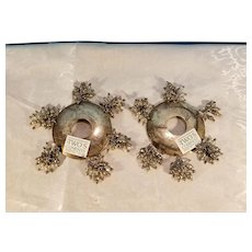 Pair of Two's Company Silverplate Candleholder Drip Pans