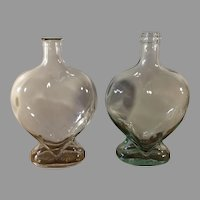 Sale Pair of Clear and Green Glass Heart Shape Decanters Italy