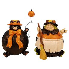 Sale Witch and Black Cat Holloween Candleholders