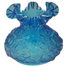 Clearance Sale Fenton Blue Ruffled Edge Poppy Parlor Lamp Shade