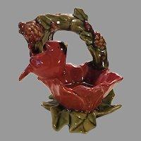 Sale Glazed Porcelain Bird on Grape Leaf Nest Trinket Dish