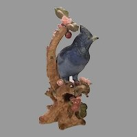 Sale Vintage NARCO Ceramic Blue Bird Perched in Floral Setting