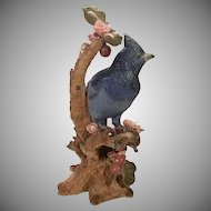 Vintage NARCO Ceramic Blue Bird Perched in Floral Setting