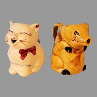 Clearance Sale Ceramic Puss 'n Boots Kitten and Unmarked Smiling Pig Cream Pitchers