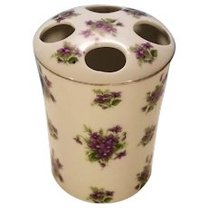 Clearance Sale Porcelain Lefton Violet Pattern Toothbrush Holder