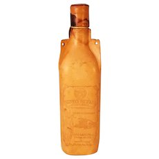 Leather Covered Liquor Bottle Gotas De Oro Golden Drops
