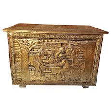 Sale Brass and Wood England Embossed Fireplace Firewood Kindling Box
