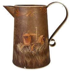 Hand Painted Tin Pitcher