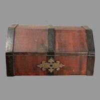 Vintage Small Homemade Wood Box Treasure Chest