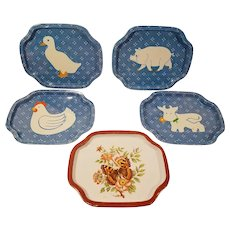 Tin Trays Farm Animals and Butterfly  Pig Chicken Duck Cow