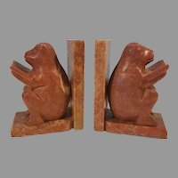 Marble / Onyx Carved Bears Sitting and Reading Bookends