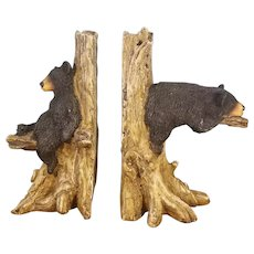 Ceramic Black Bears Lounging in Tree Stump Bookends