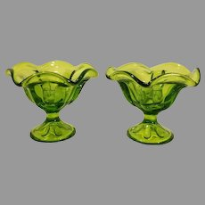 Translucent Ruffled Green Glass Pedestal / Compote / Bowl Candleholders