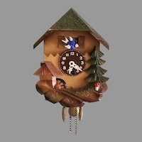 Vintage Novelty Animated River Mill and Blue Bird Key Wound Wall Clock