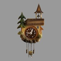 Vintage Key Wound Church Steeple and Bell in the Woods Novelty Wall Clock