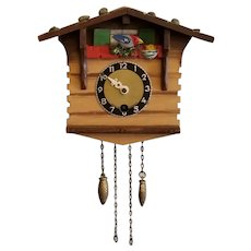 Vintage Animated Bird Key Wound Germany Novelty Wall Clock