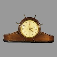 Sale For Repair Mid Century Telechron Wood Case Ships Bell Electric Mantle Clock 6B17