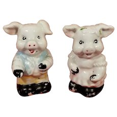 Vintage Ceramic Girl and Boy Pig Salt & Pepper Shakers