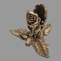 Cast Pewter Floral Rose Leaf and Stem Pattern Candleholder/ Candlestick