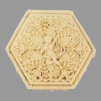 Molded / Cast Resin Hexagon Cupid Lid Trinket Box