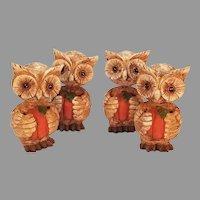 Set of Four Resin Bobblehead Halloween Owls Holding Pumpkins
