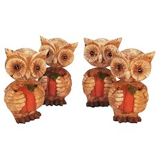 Set of Four Resin Bobblehead Halloween Owls Holding Pumpkins