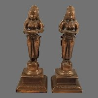Pair of Copper on Metal India Woman on a Pedestal Holding a Bowl Figurines