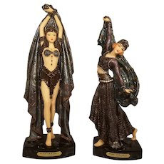 "Pair Objet 'd Elegance Collection ""Dance of the 7 Veils"" Series Art Deco Style Figurines"