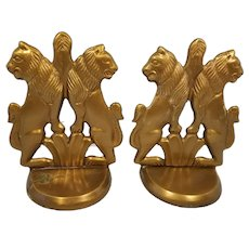 Lacguered Brass Twin Lions Bookends or Doorstops Made in India