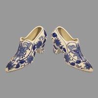 Pair of Bella Casa by Ganz Floral Porcelain Shoes