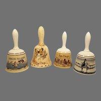 Set of 4 Porcelain and Ceramic Souvenir Bells San Diego / Virgin Islands / Queen Mary / Spruce Goose