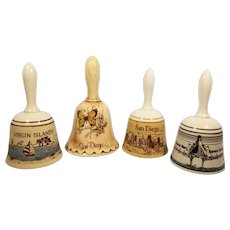 Set of 4 Porcelain and Ceramic Souvenir Bells San Diego / Virgin Islands / Queen Mary / Spruce Goose