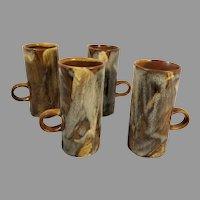 4 Caffe D' Vita Drip Glaze Stoneware Coffee Espresso Cappuccino Mugs