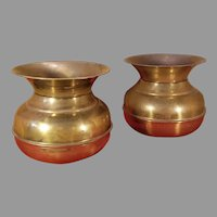 Pair of Brass Plated Spittoons Planters Made in England