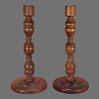 Pair of Turned Wood Candlesticks Enesco Japan