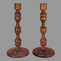 Pair of Turned Wood Candlesticks Enesco Japan