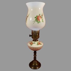 Marble Base Milk Glass Desk Table Lamp Painted Roses