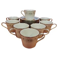 Set of 8 Noritake Inverness 6716 Cups and Saucers